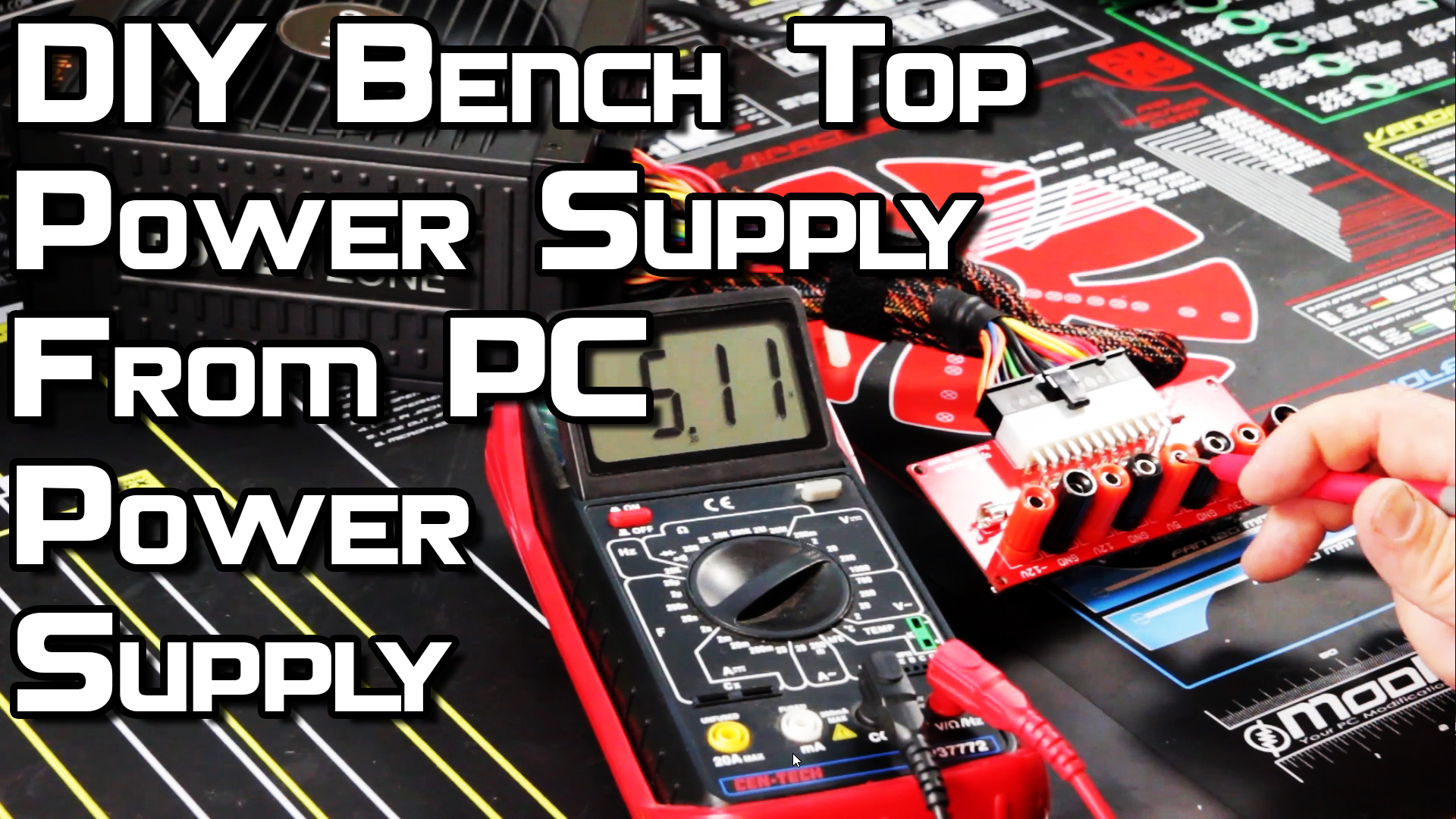 DIY benchtop power supply using a BeQuiet PC PSU.