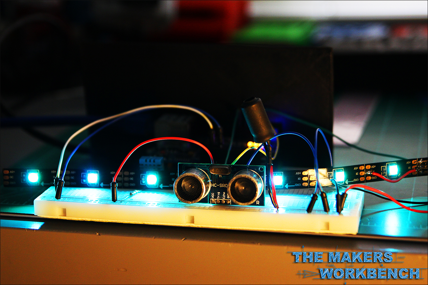 Illuminating NeoPixel LED's using an Arduino and a HC-SR04 Ultrasonic (Ping) Distance Sensor.