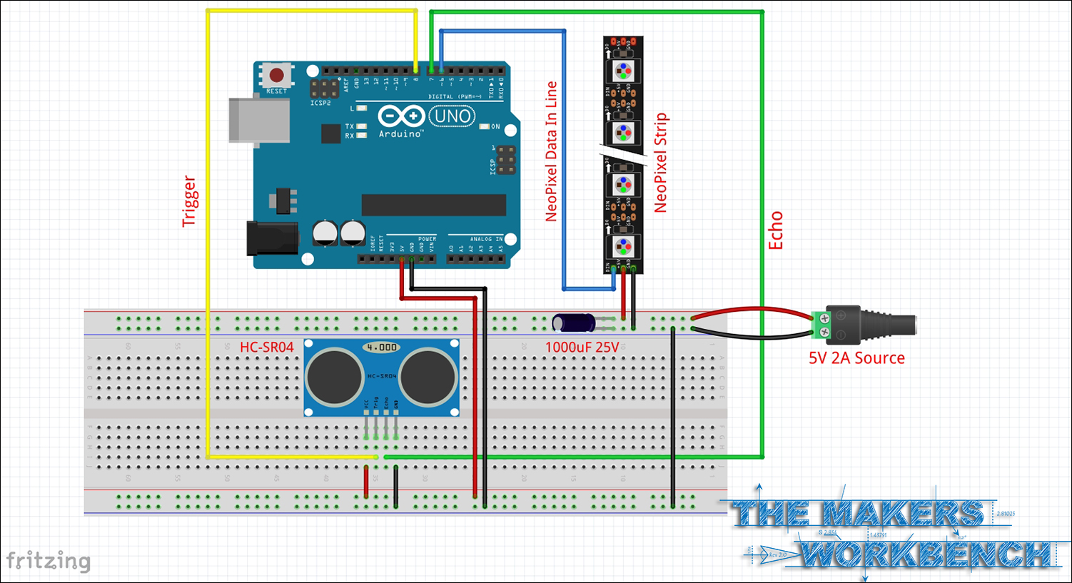 Schematic for wiring up an HC-SR04 and NeoPixels to an Arduino.