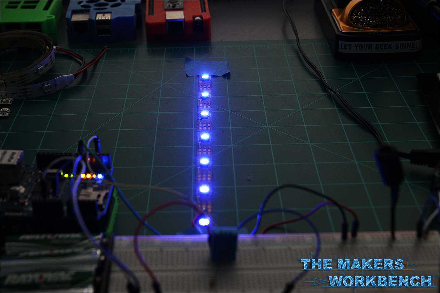 DHT11 Temperature Monitoring and control of NeoPixels using an Ardiuno and an Ethernet Shield.