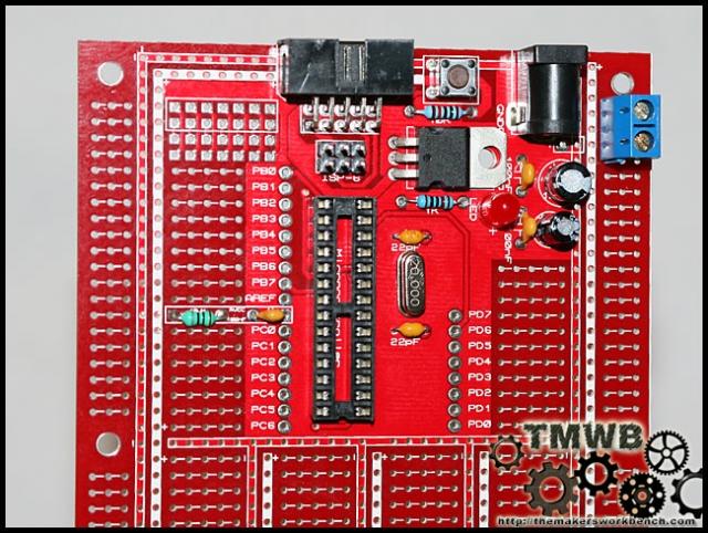 Protostack Atmega8 Dev kit assembled.